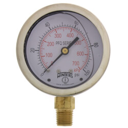 "2-1/2"" SS Liquid Filled Gauge, 1/4"" NPT w/ Brass Internals (0-100 PSI) Product Image"