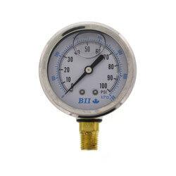 "2-1/2"" Liquid Filled Pressure Gauge w/ Lower & Center Back Mount (0-100 psi) Product Image"