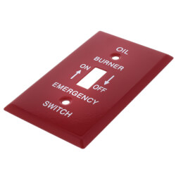 """Red Emergency Oil Burner Cover Plate w/ white text (6.5"""" x 3"""") Product Image"""