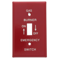 """Red Emergency Gas Burner Cover Plate w/ white text (4-1/2"""" x 2-11/32"""") Product Image"""