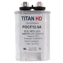 12.5 MFD Oval Motor<br>Run Capacitor (440/370V) Product Image