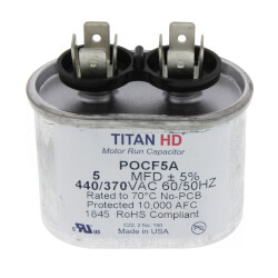 5 MFD Oval Motor Run Capacitor (440/370V) Product Image