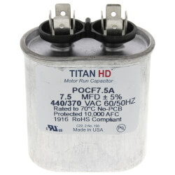 7.5 MFD Oval Motor Run Capacitor (440/370V) Product Image
