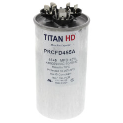 45/5 MFD Round Dual Motor Run Capacitor (440/370V) Product Image