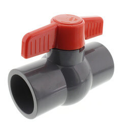 "1-1/4"" Gray PVC Ball Valve (Solvent) Product Image"