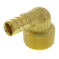 "1/2"" PEX x 3/4"" Male Threaded Brass Elbow (Lead Free) Product Image"