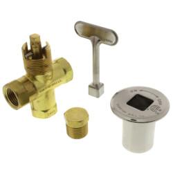 Universal Gas Log Lighter Valve w/ Key & Nut, Brushed Nickel Escutcheon Product Image