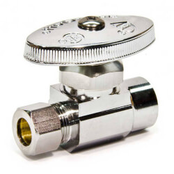 "1/2"" Nom. Sweat x 3/8"" O.D. Compr. Straight Stop Valve, Lead Free (Chrome) Product Image"