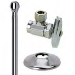 "1/2"" Sweat x 3/8"" Comp Faucet Supply Kit, Angle Stop, 20"" (Chrome) Product Image"