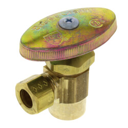 "1/2"" Nom. Sweat x 3/8"" O.D. Compr. Angle Stop Valve, Lead Free (Rough Brass) Product Image"