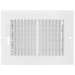 """6"""" x 4"""" (Wall Opening Size) 2-Way Sidewall/Ceiling Register, 1/3"""" (White) Product Image"""