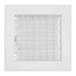 """6"""" x 6"""" (Wall Opening Size) Sidewall/Ceiling Register, Adjustable (White) Product Image"""