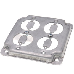 "4"" Square Surface Cover for Two Duplex Flush Receptacles Product Image"