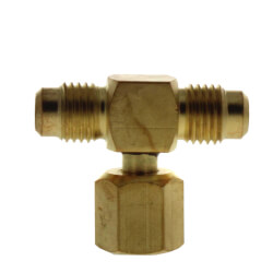 "1/4"" M. Flare w/ Valve Core and Cap x 1/4"" M. Flare x 1/4"" F. Flare Nut w/ Depressor Tip on Branch Brass Tee Connector Product Image"