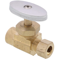 "1/2"" Sweat x 3/8"" OD Comp. Multi Turn Straight Stop Valve, Lead Free (Rough Brass) Product Image"