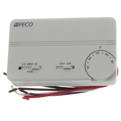 3 Speed Fan Coil On-Off Prog. Thermostat w/ Wire Leads & 2 Covers (White) Product Image