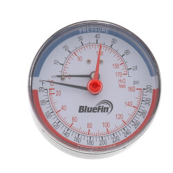 "1/4"" NPT, 3-1/8"" Face<br>Temp & Pressure Gauge (Tridicator) Product Image"