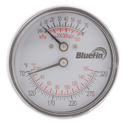 "2.5"" Tridicator w/ Ext. Back Temp. and Pressure (0-75 PSI and 70°F-320°F) Product Image"
