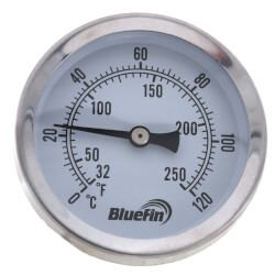 "1/2"" NPT, 2.5"" Face, Snap Well Thermometer <br>(Stainless Steel) Product Image"