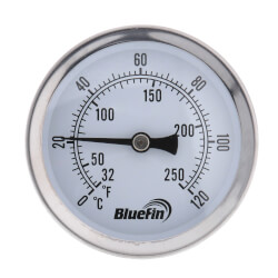 """1/2"""" NPT Connection Thermometer<br>w/ 2-1/2"""" Dial Size Product Image"""