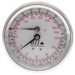 """1/2"""" NPT, 3"""" Face, Temperature & Pressure Gauge - Short (Tridicator) Product Image"""