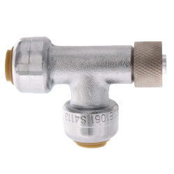 "1/4"" (3/8""OD) x 1/4"" (3/8""OD) x 3/8"" Compression Nut Adapter Tee Product Image"