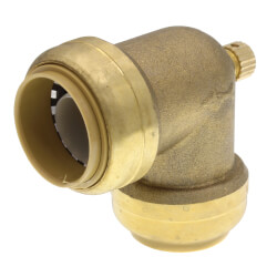 "1"" Sharkbite Elbow with 1/8"" NPSM Thread Drain/Vent (Lead Free) Product Image"