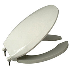 Elongated Open Front Heavy Duty Toilet Seat with Cover (White) Product Image