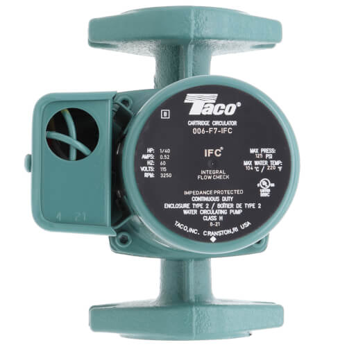 006 Taco Cast Iron Circulator w/ Integral Flow Check, 1/40 HP Product Image