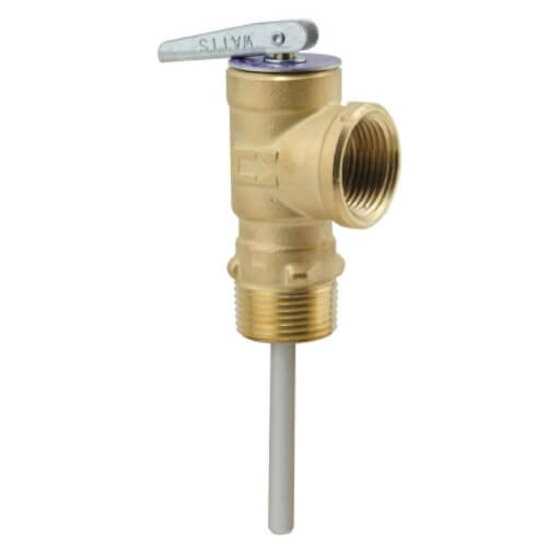 """10L-2-75210 3/4"""" Brass Self Closing T & P Relief Valve w/ Test Lever (75 PSI, 210 F) Product Image"""