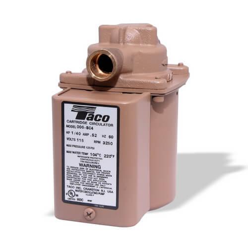 "006 (3/4"" Sweat) Taco Bronze Circulator w/ Integral Flow Check, 1/40 HP Product Image"