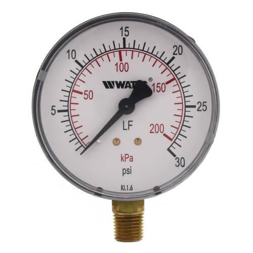 "LFDPG1 3"" Pressure Gauge, Lead Free (0-30 psi) Product Image"