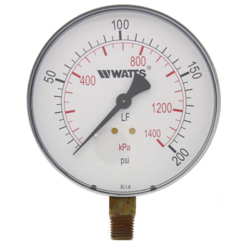 "1/4"" DPG-1 Bottom Entry Pressure Gauge w/ 4"" Dial - Lead Free (0-200 PSI) Product Image"