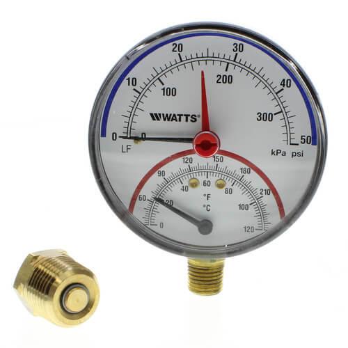 "LFDPTG-1 3"" Bottom Entry Pressure & Temperature Gauge (0-50 psi) Product Image"