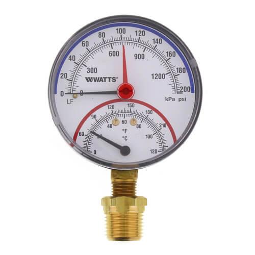 "LFDPTG-1 3"" Bottom Entry Pressure & Temperature Gauge (0-200 psi) Product Image"