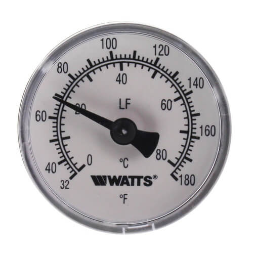 "1/2 LFTB-1-1/2-132-176 Center Back Entry Bimetal Thermometer (1-1/2"" Dial) Product Image"