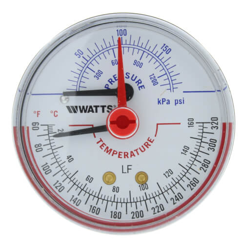 "LFDPTG-3 2-1/2"" Pressure & Temperature Gauge (0-200 psi) Product Image"