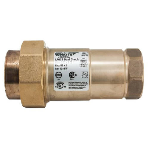 "LF07S LF 1"" Residential Fire Sprinkler Dual Check Backflow Preventer, Lead Free Product Image"