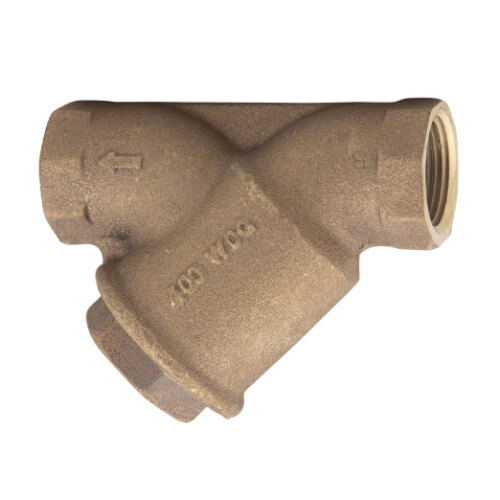 "1"" LFS777SM1 Bronze Wye Pattern Strainer w/ Solid Retainer Cap, 100 Mesh Screen Product Image"