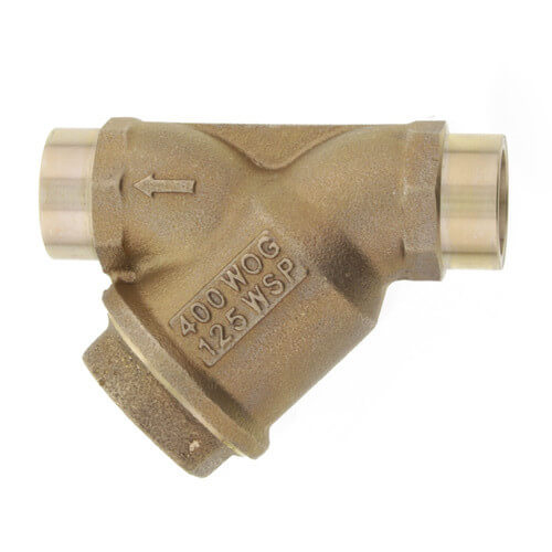 """3/4"""" Bronze Wye Strainer w/ Tapped Retainer Cap, Lead Free Product Image"""