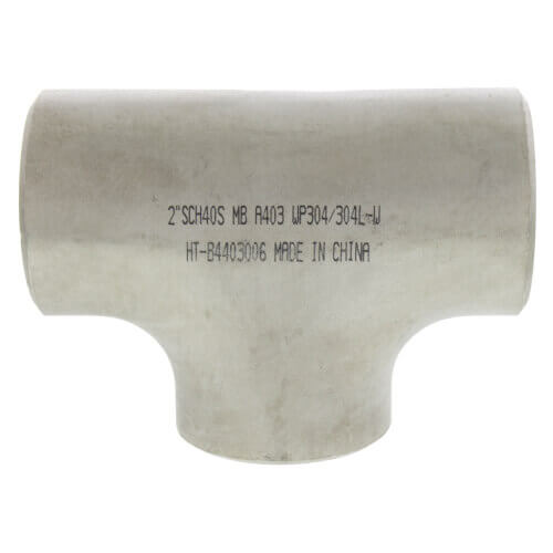 """2-1/2"""" Sch 10 Stainless Steel Butt-Weld Tee Product Image"""