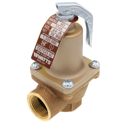 """3/4"""" LF174A Lead Free Relief Valve (80lb) Product Image"""