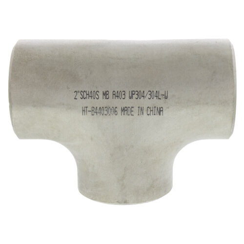 """2"""" Sch 40 Stainless Steel Butt-Weld Tee Product Image"""