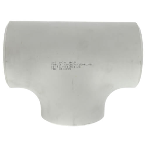 """3"""" Sch 40 Stainless Steel Butt-Weld Tee Product Image"""