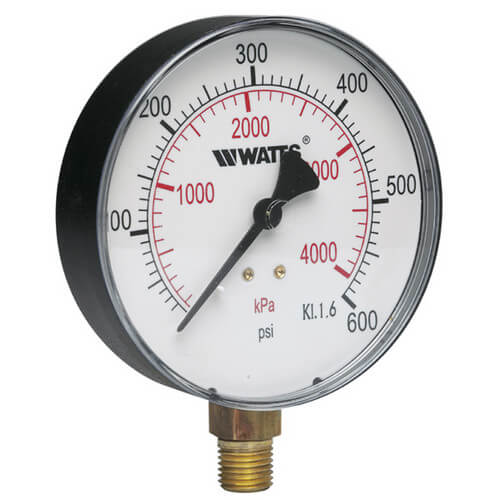 "1/4"" DPG-1 Bottom Entry Pressure Gauge w/ 4"" Dial - Lead Free (0-300 PSI) Product Image"