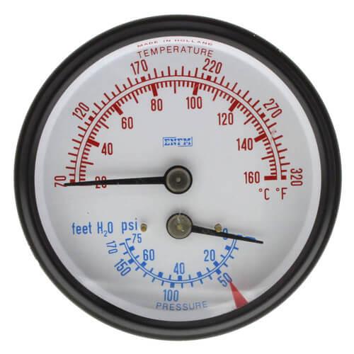 """2-1/2"""" Water Temperature/Pressure Gauge For Burnham Boilers Product Image"""