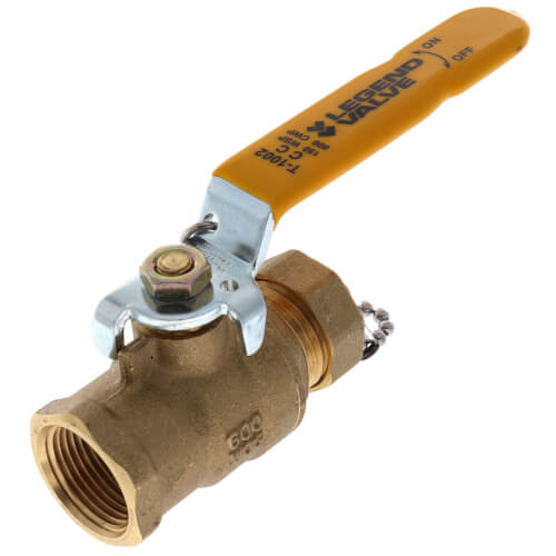 """T1002CC 3/4"""" Forged Brass Ball Valve with Cap & Chain Product Image"""