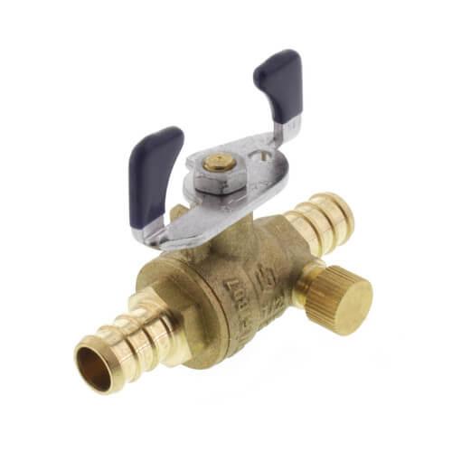 "T-2007NL 1/2"" PEX DZR Brass Full Port Ball Valve w/ Drain & Tee Handle Product Image"