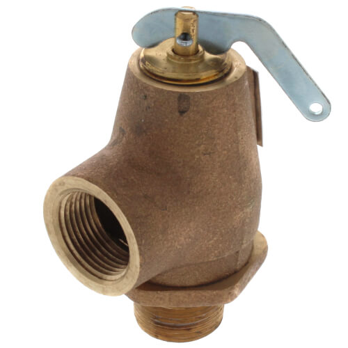 "3/4"" MNPT x 3/4"" FNPT RVW10 550,000 BTU Hot Water Relief Valve, 30 PSIG (Brass Finish) Product Image"