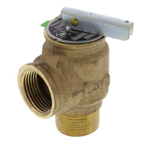 "3/4"" MNPT x 3/4"" FNPT RVW10 532,000 BTU Hot Water Relief Valve, 35 PSIG (Brass Finish) Product Image"